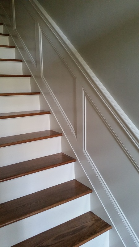 Customer Wanted To Create Some Visual Interest To The Staircase. Custom  Wainscoting Was Installed And Painted To Match The Homeu0027s Existing Trim.